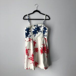 RW&CO. Strapless Floral White, Navy & Red Dress